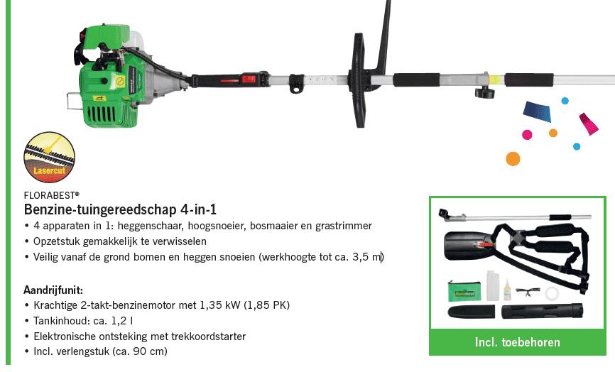 Folder Lidl Benzine Tuingereedschap 4 in 1 - €149,-