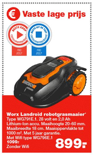 folder praxis robotmaaier worx aanbieding