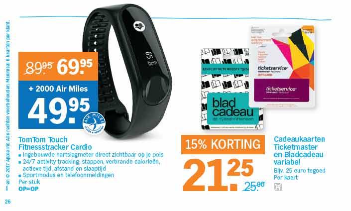 Albert Heijn Folder Aanbieding TOM TOM Touch Fitness tracker Cardio