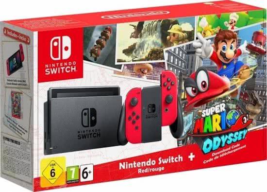 Ook nu te koop in Nederland deNintendo Switch Super Mario Odyssey 32GB Console - Rood.